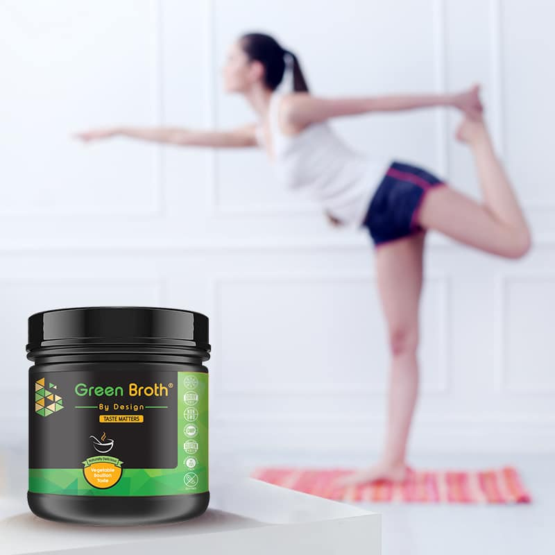 green broth by design and girl doing yoga